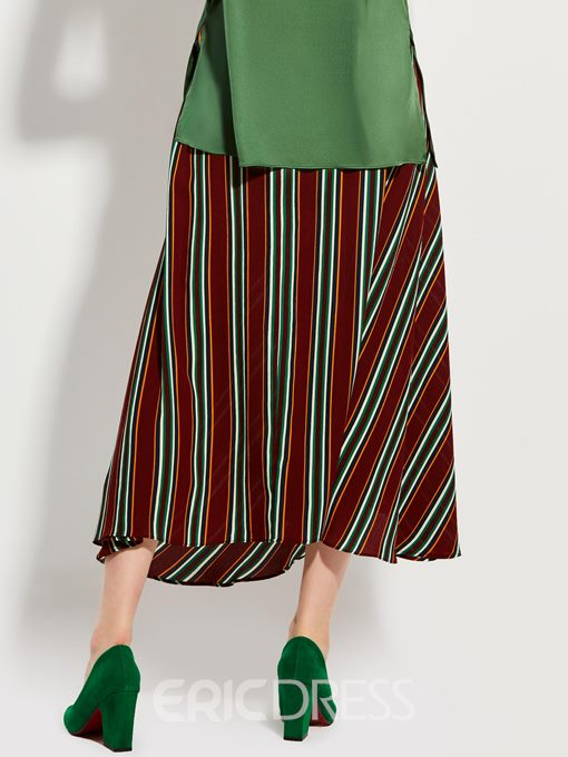 Color Block Stripe Expansion Skirt