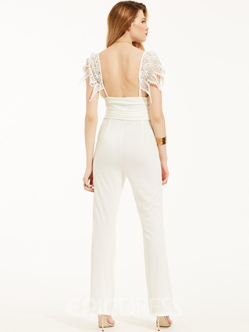 Lace Patchwork Backless Bellbottoms Jumpsuit