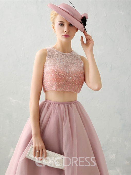 Ericdress Two Piece Beaded Crop Top Prom Dress