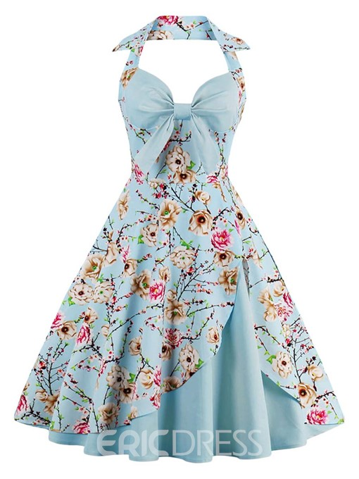 Ericdress Halter Bowknot Pleated A Line Dresses