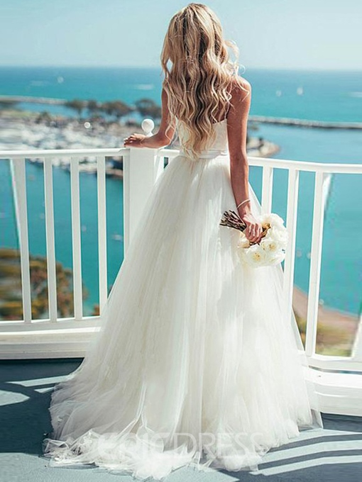 Ericdress Simple A-Line Backless Spaghetti Straps Sweetheart Wedding Dress