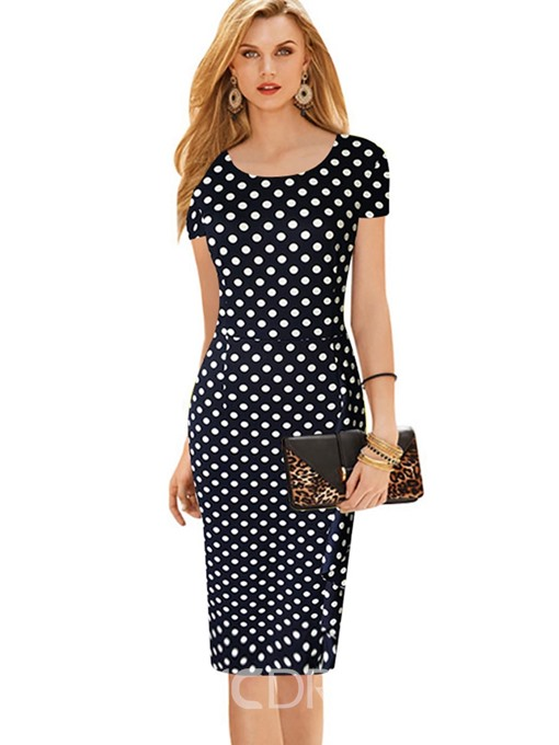 Ericdress Polka Dots Falbala Patchwork Sheath Dress