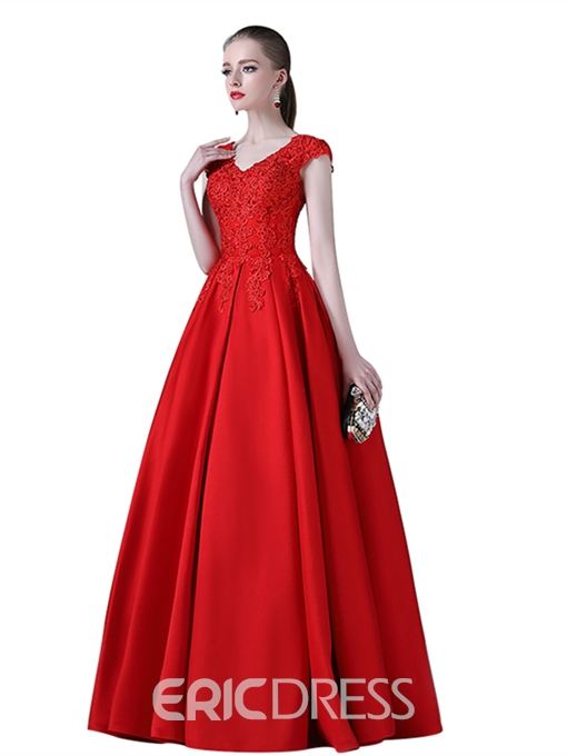 Ericdress A Line Cap Sleeve Applique Evening Dress With Lace-Up Back