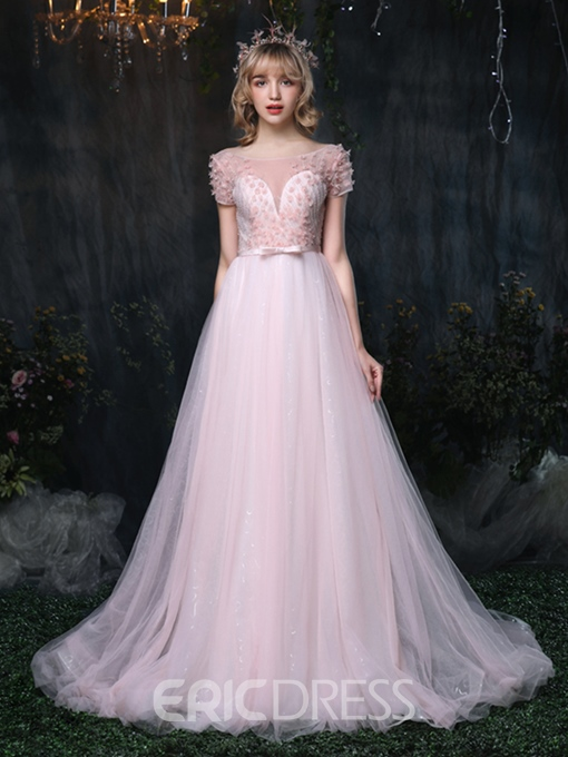 Ericdress A-Line Short Sleeve Beaded Long Prom Dress With Sash Bowknot