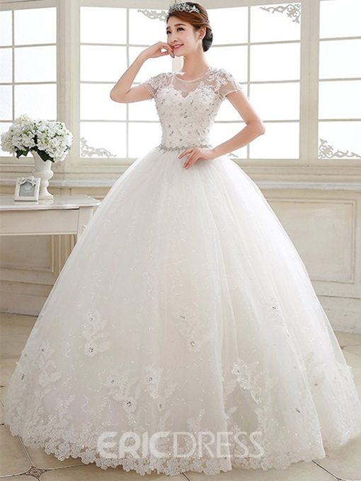 Sheer Jewel Neck Short Sleeve Lace Bal Gown Wedding Dress