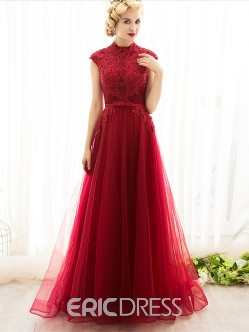 Ericdress Vintage High Neck Cap Sleeve Applique Evening Dress