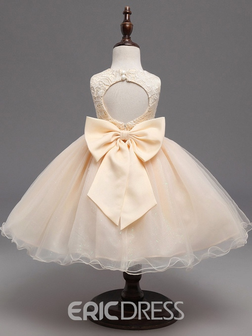 Ericdress Lace Bowknot Knee Length Flower Girl Dress