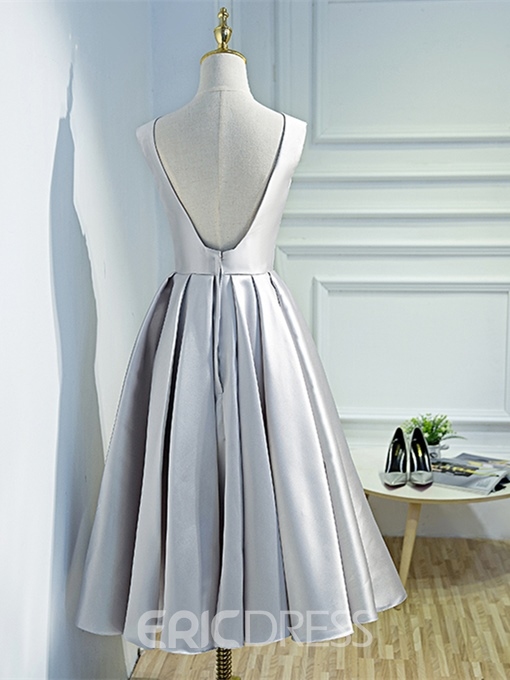 Ericdress A Line Applique Backless Prom Dress In Tea Length