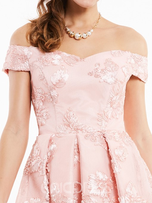 Ericdress Off-the-Shoulder Lace-Up Appliques Cocktail Dress