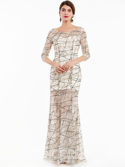 Ericdress Bateau Neck Half Sleeves Sequins Evening Dress
