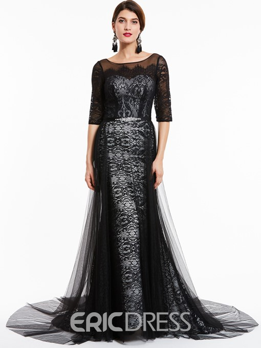 Ericdress Bateau Neck Half Sleeves Lace Evening Dress