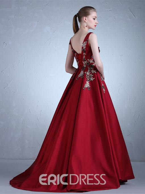 Ericdress Appliques Sleeveless Floor-Length Ball Evening Dress