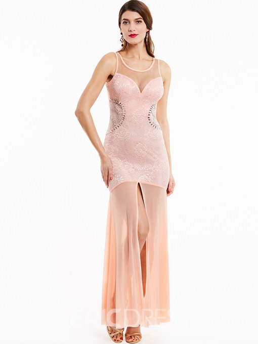 Ericdress Scoop Neck Split-Front Long Prom Dress