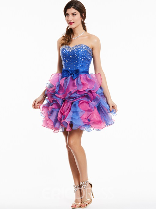Ericdress Sweetheart Beaded Bowknot Cocktail Dress