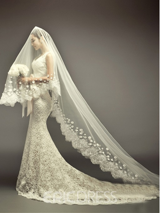 Elegant Mermaid Scalloped-Edge Neckline Chapel Train Lace Wedding Dress