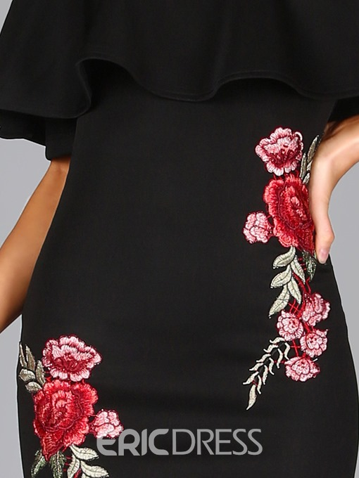 Ericdress Ruffles Slash Neck Embroidery Bodycon Dress