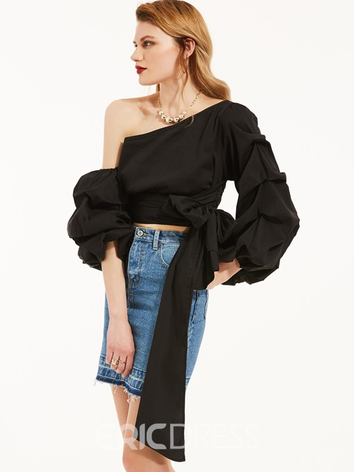 Ericdress Oblique Collar Puff Sleeve Tie Blouse