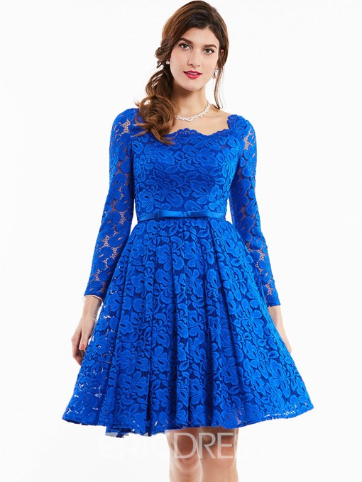 Ericdress Square Neck Long Sleeves Lace Cocktail Dress