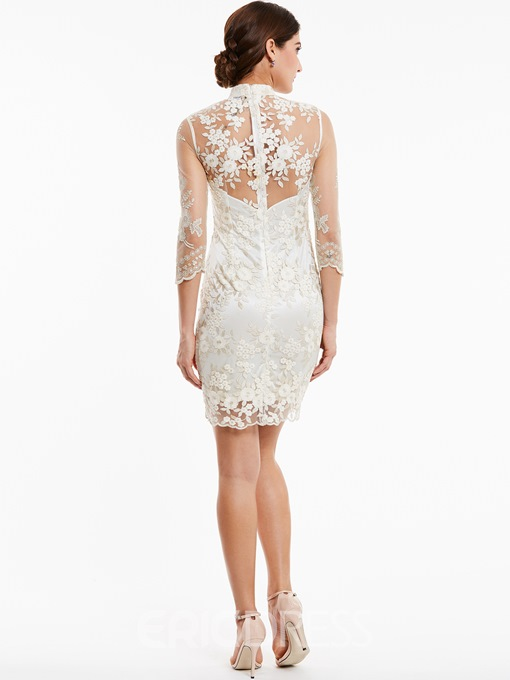 Ericdress High Neck Zipper-Up Appliques Lace Evening Dress