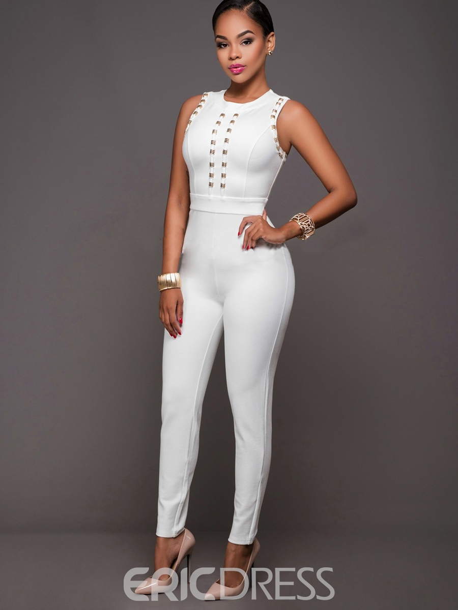 Ericdress White Round Neck Sleeveless Women's Jumpsuits
