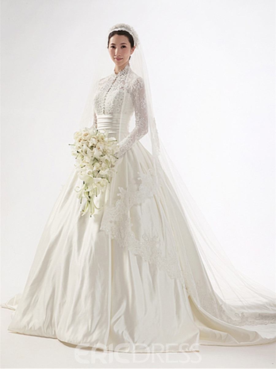 Gorgeous A-line High-neck Long Sleeves Chapel Train Wedding Dress