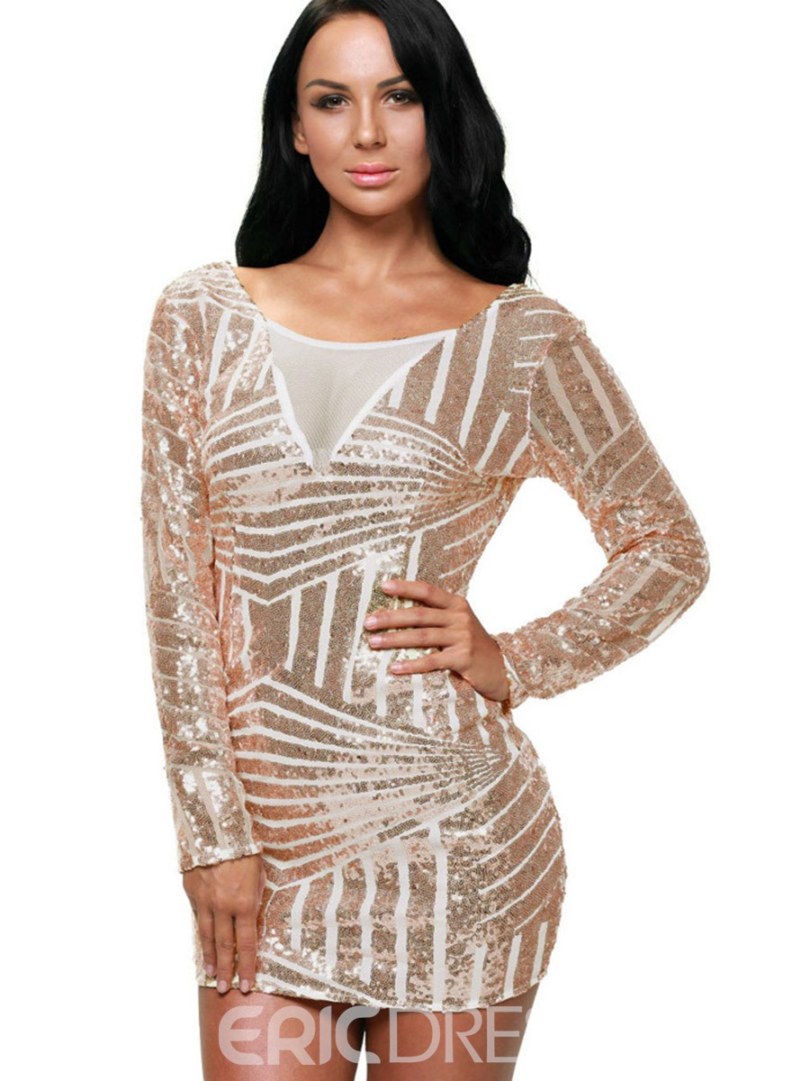 Ericdress Sexy Backless See-Through Bodycon Dress