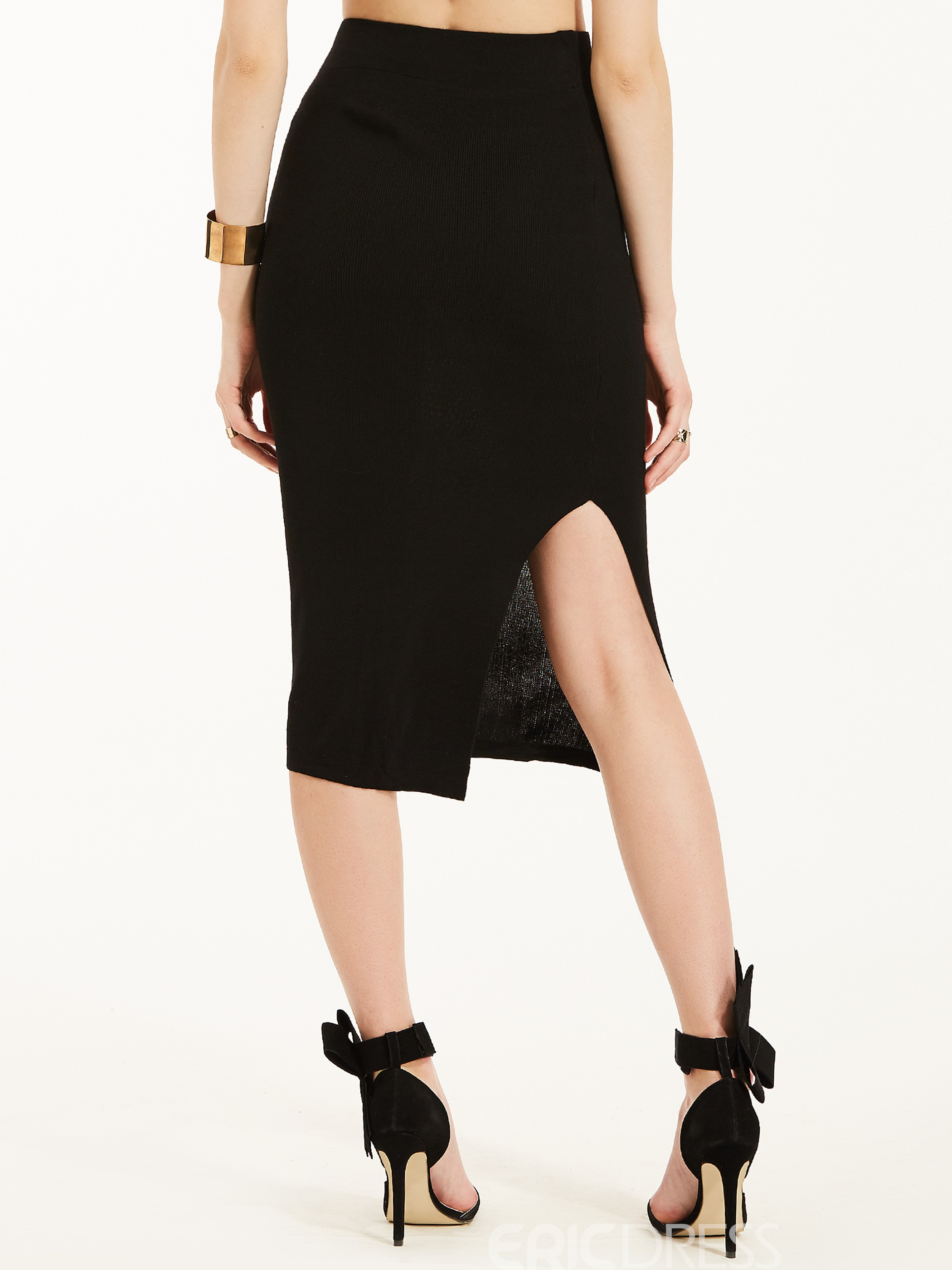 Mid-Waist Mid-Calf Plain Asymmetrical Skirt