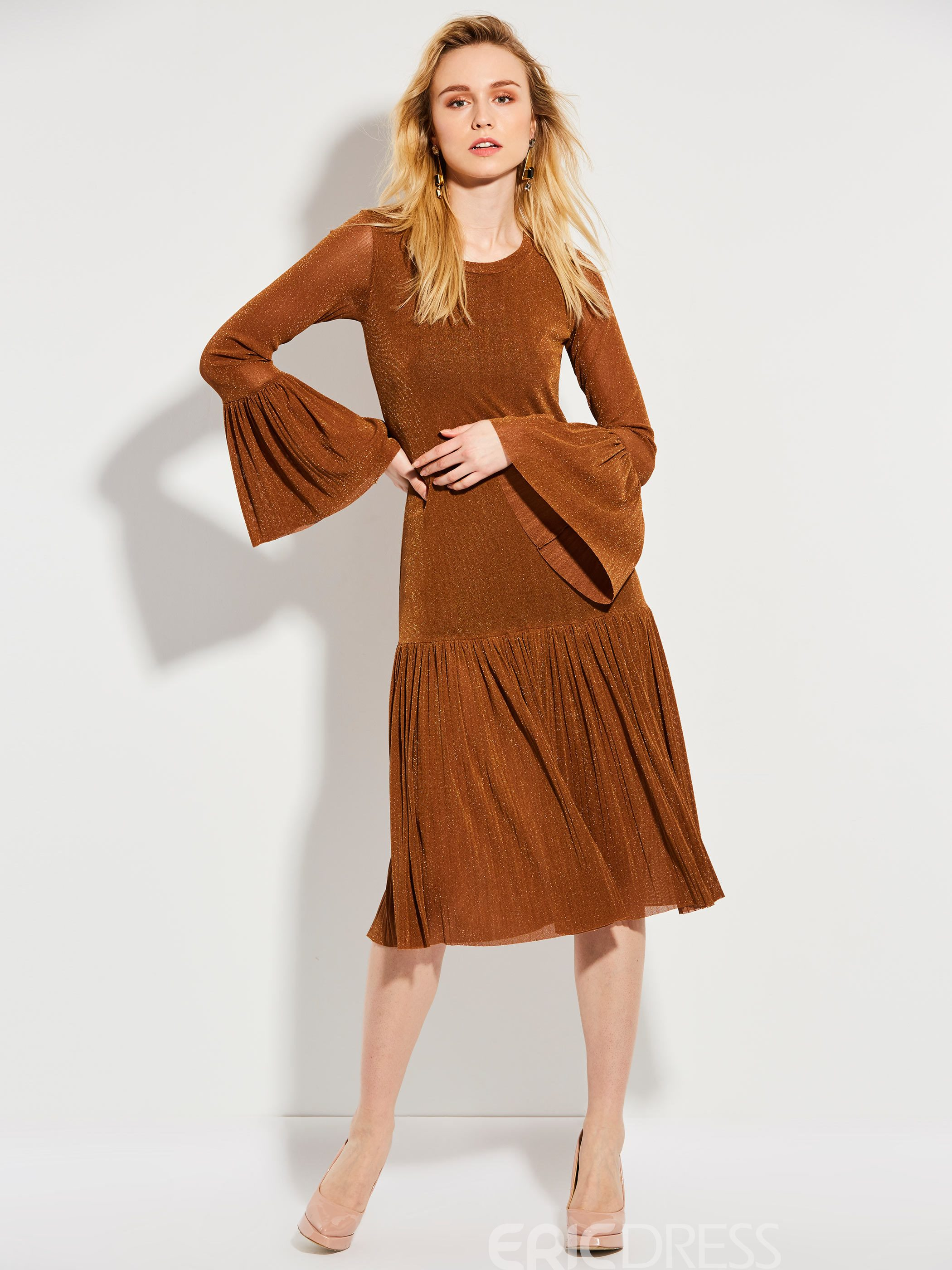 Ericdress Flare Sleeves Pleated A Line Dress