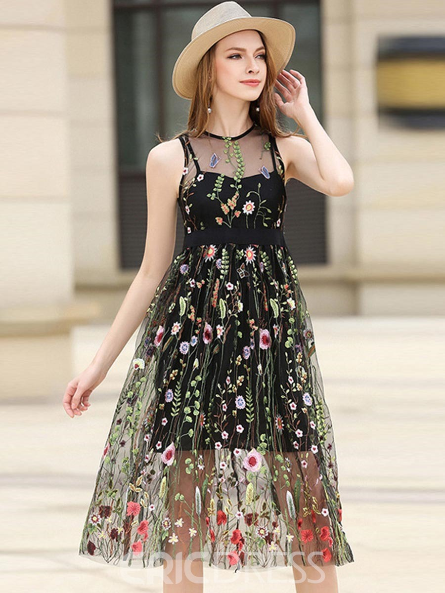 Ericdress Embroidery Appliques See Through Casual Dress