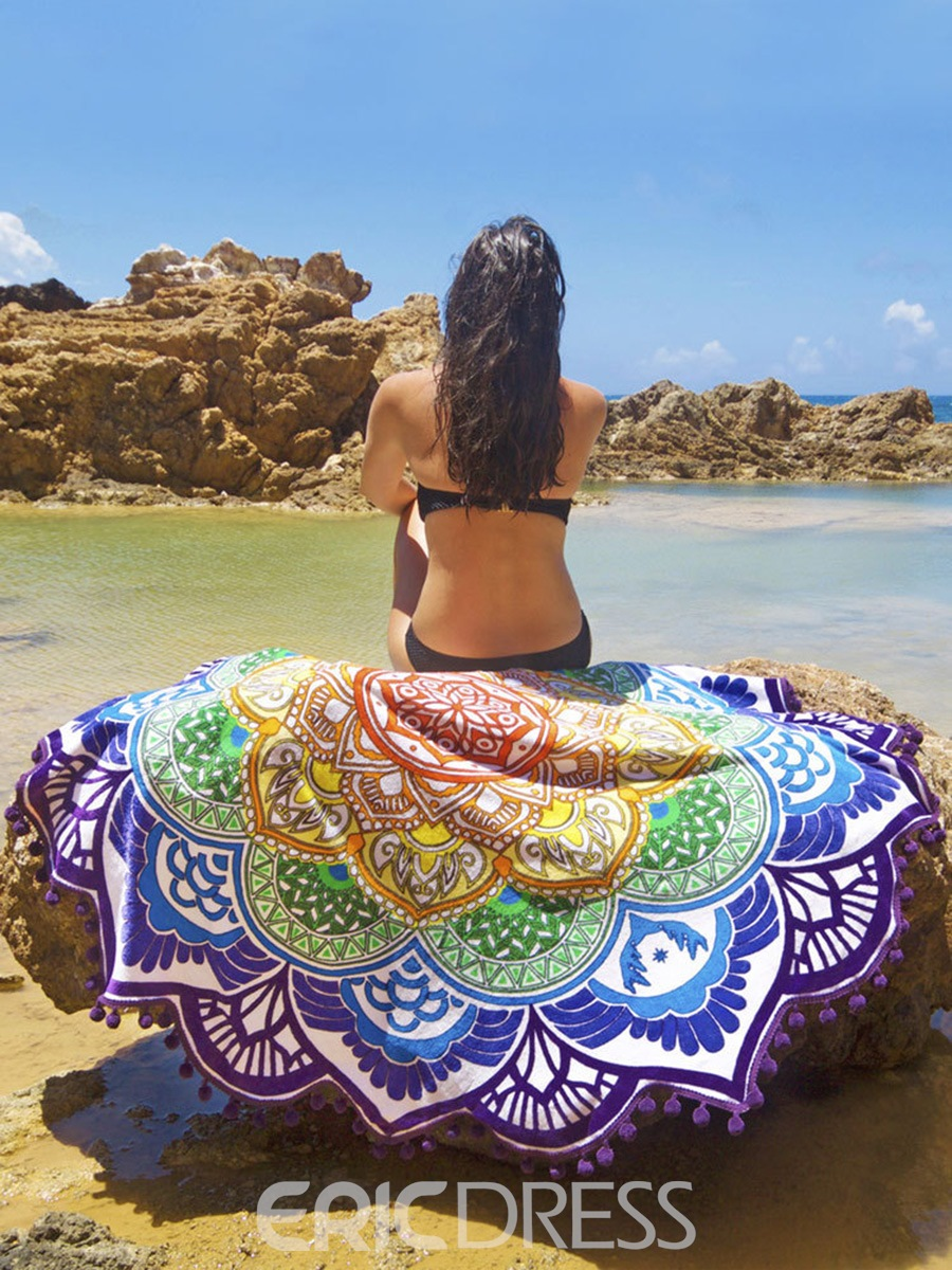 Ericdress Multicolor Fringed Polygon Beach Blanket