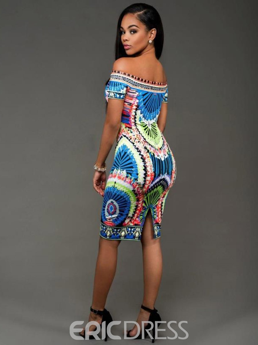 Ericdress Print Slash Neck Colorful Bodycon Dress