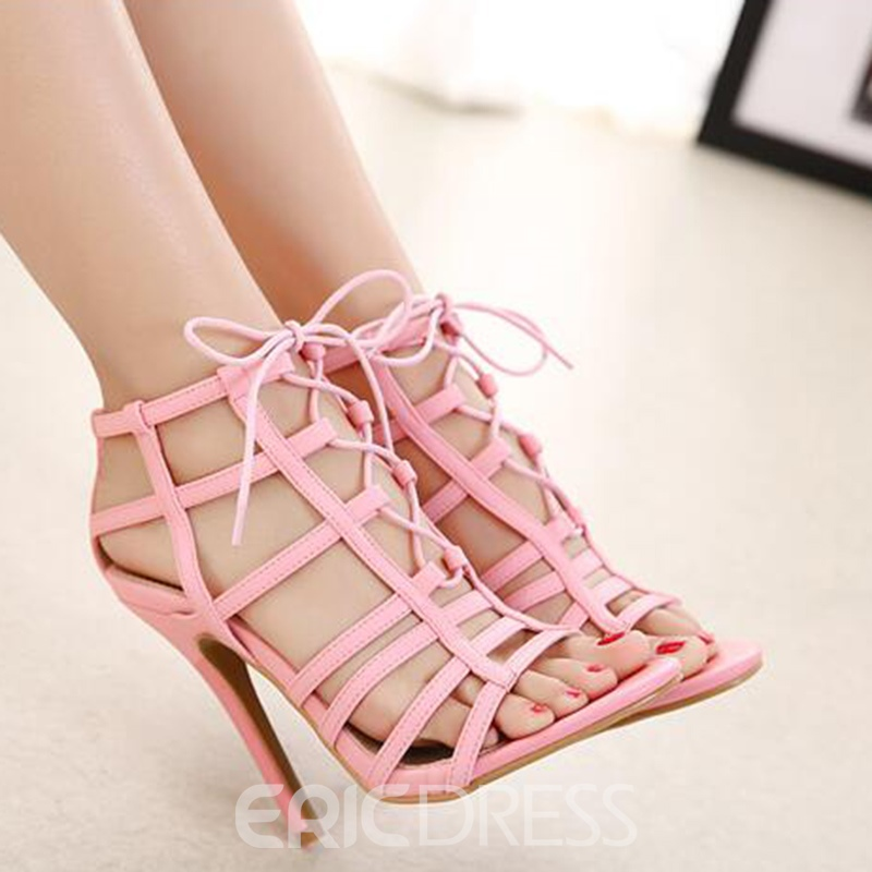 Ericdress PU Cut Out Lace up Stiletto Sandals