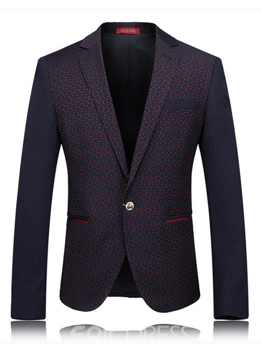 Ericdress Color Block Ptached Polka Dots Vogue Men's Blazer