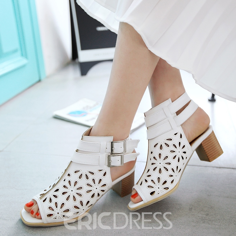 Ericdress Cut Out Peep Toe Buckles Decorated Chunky Sandals