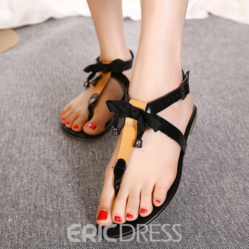 Ericdress Summer Bowtie Decorated Clip Toe Flat Sandals
