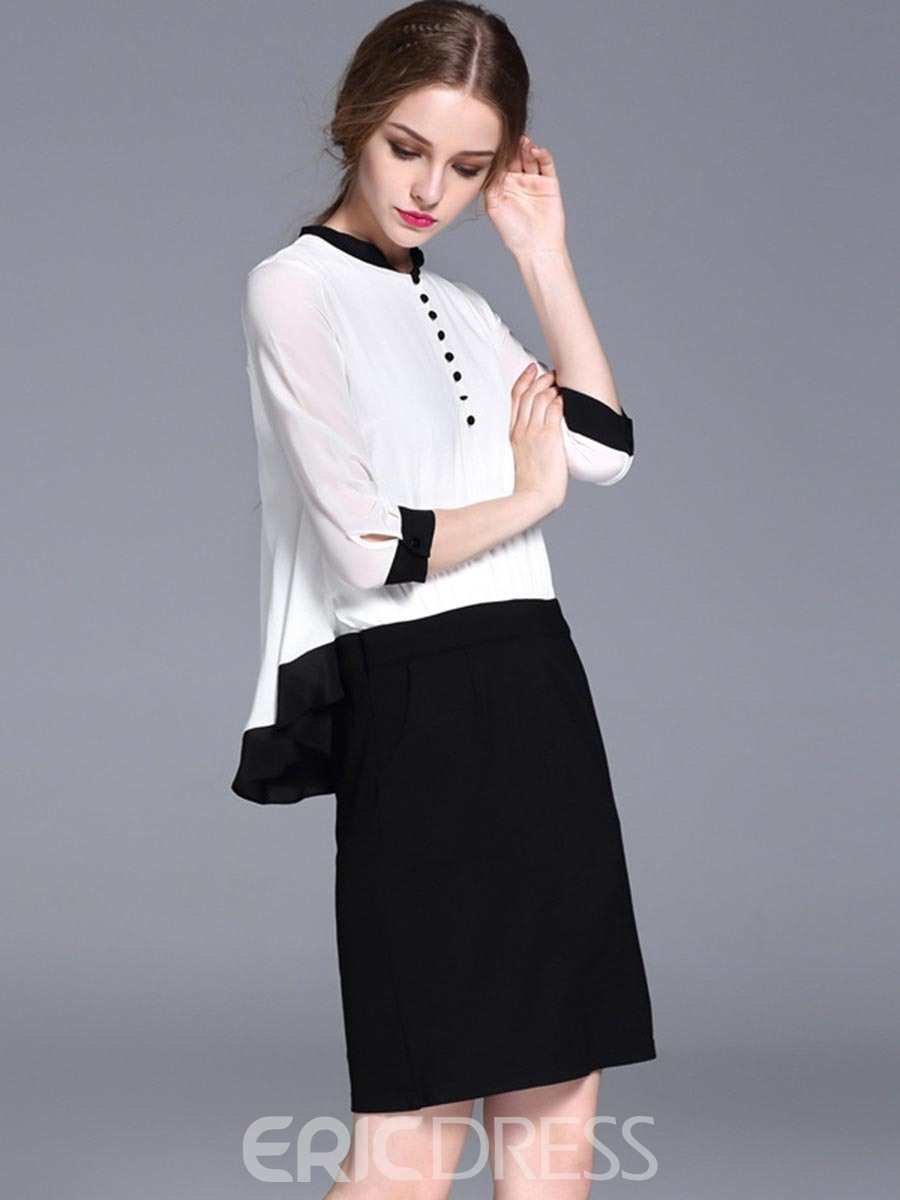 Ericdress Color Block Patchwork Double-Layer Casual Dress