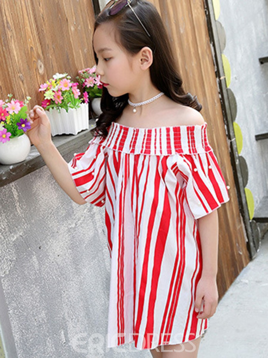Ericdress Slash Neck Stripe Short Sleeve Girls Dress