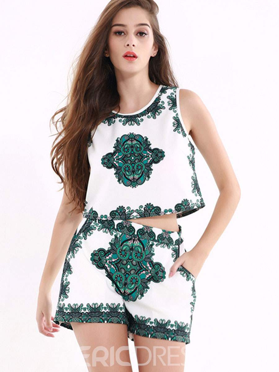 Ericdress Sleeveless Print Women's Two Piece Set