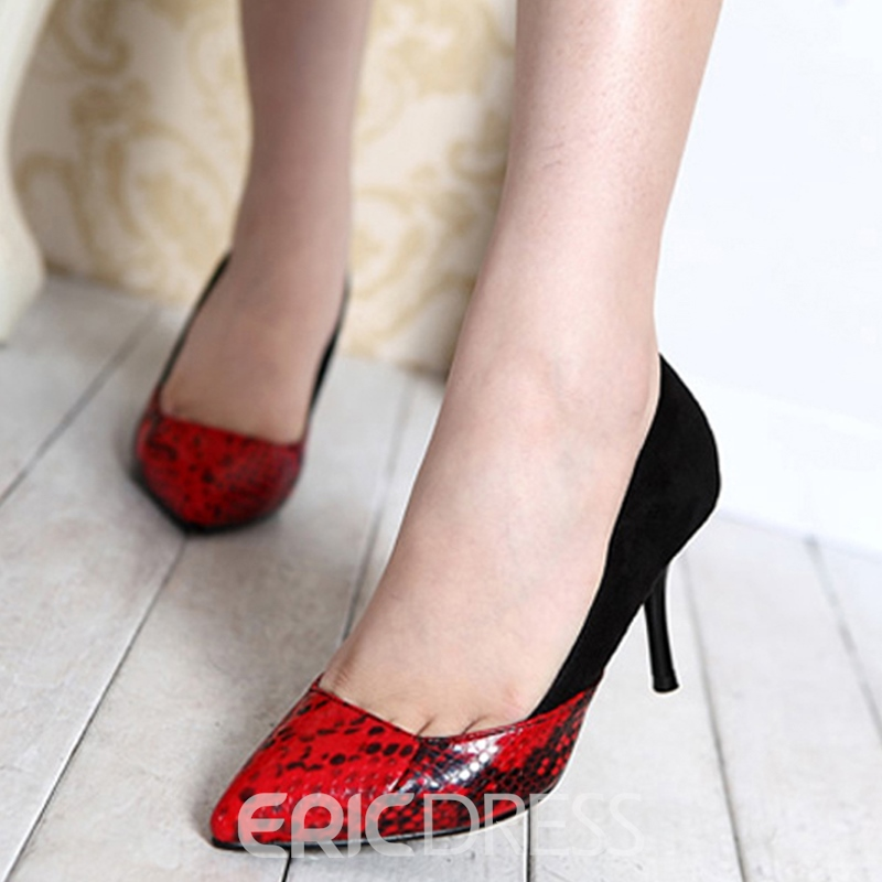 Ericdress Snake Print Patchwork Pumps