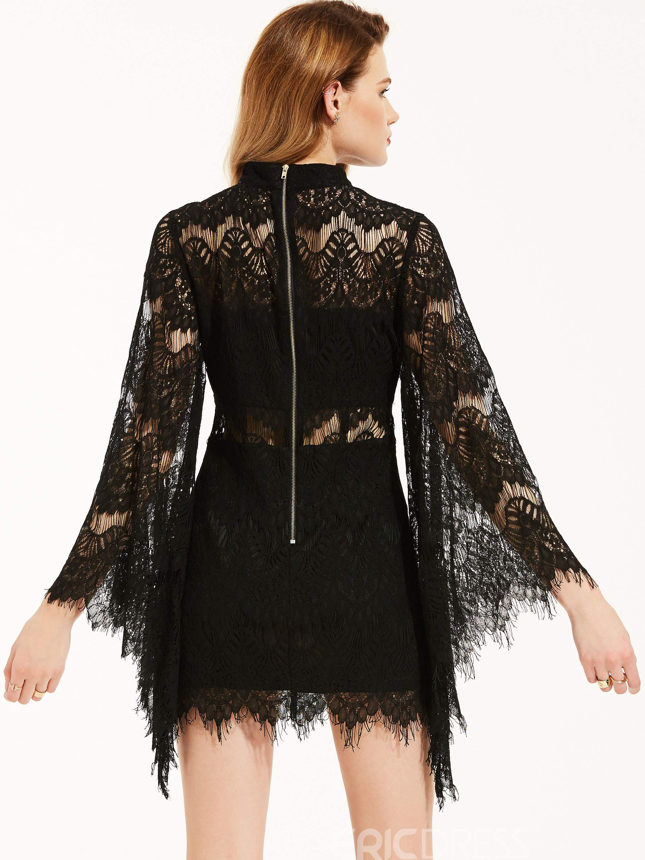 Ericdress Stand Collar See-Through Bell Sleeve Bodycon Dress