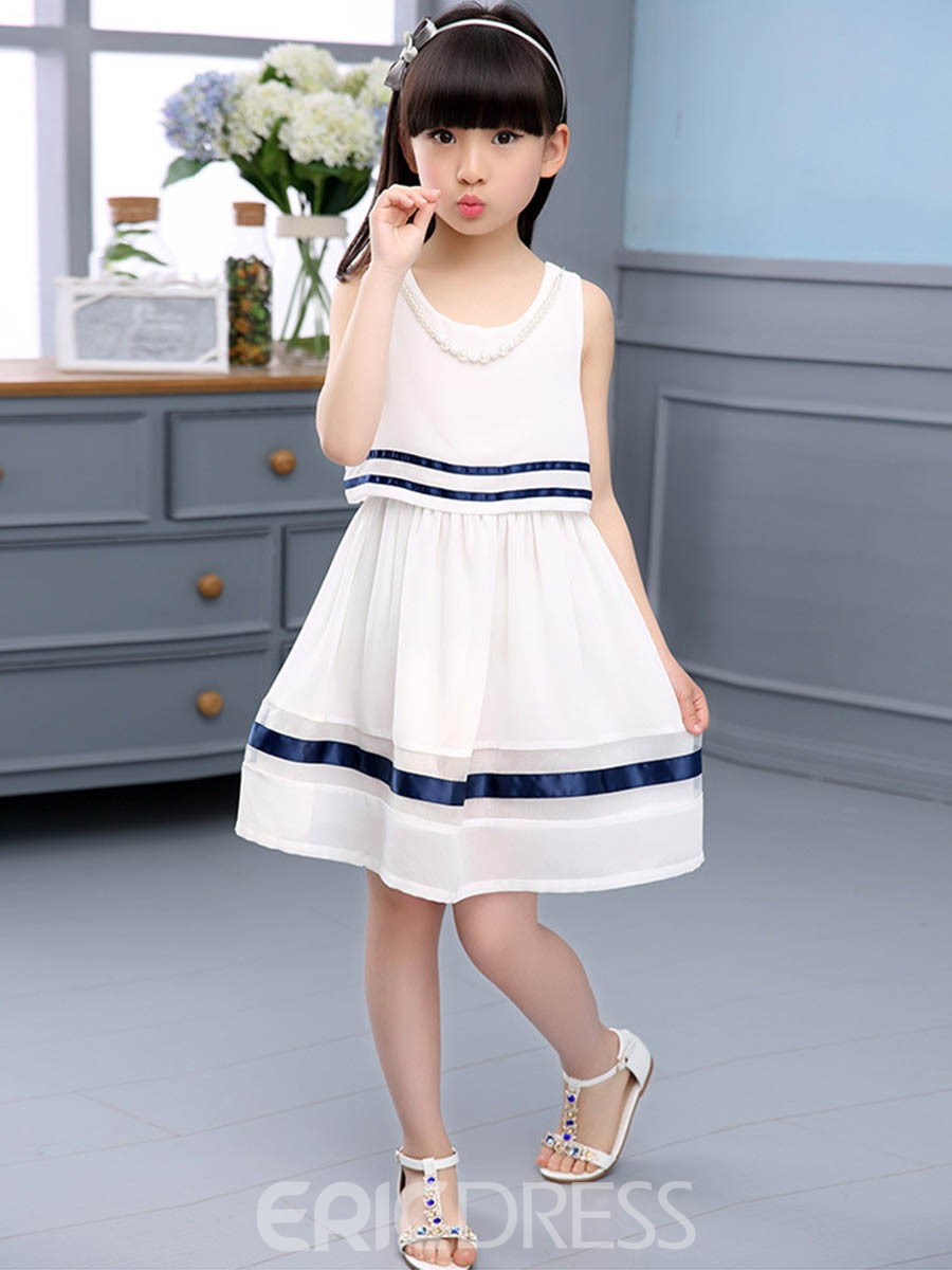Ericdress Pearl Necklace Stripe Sleeveless Girls Dress