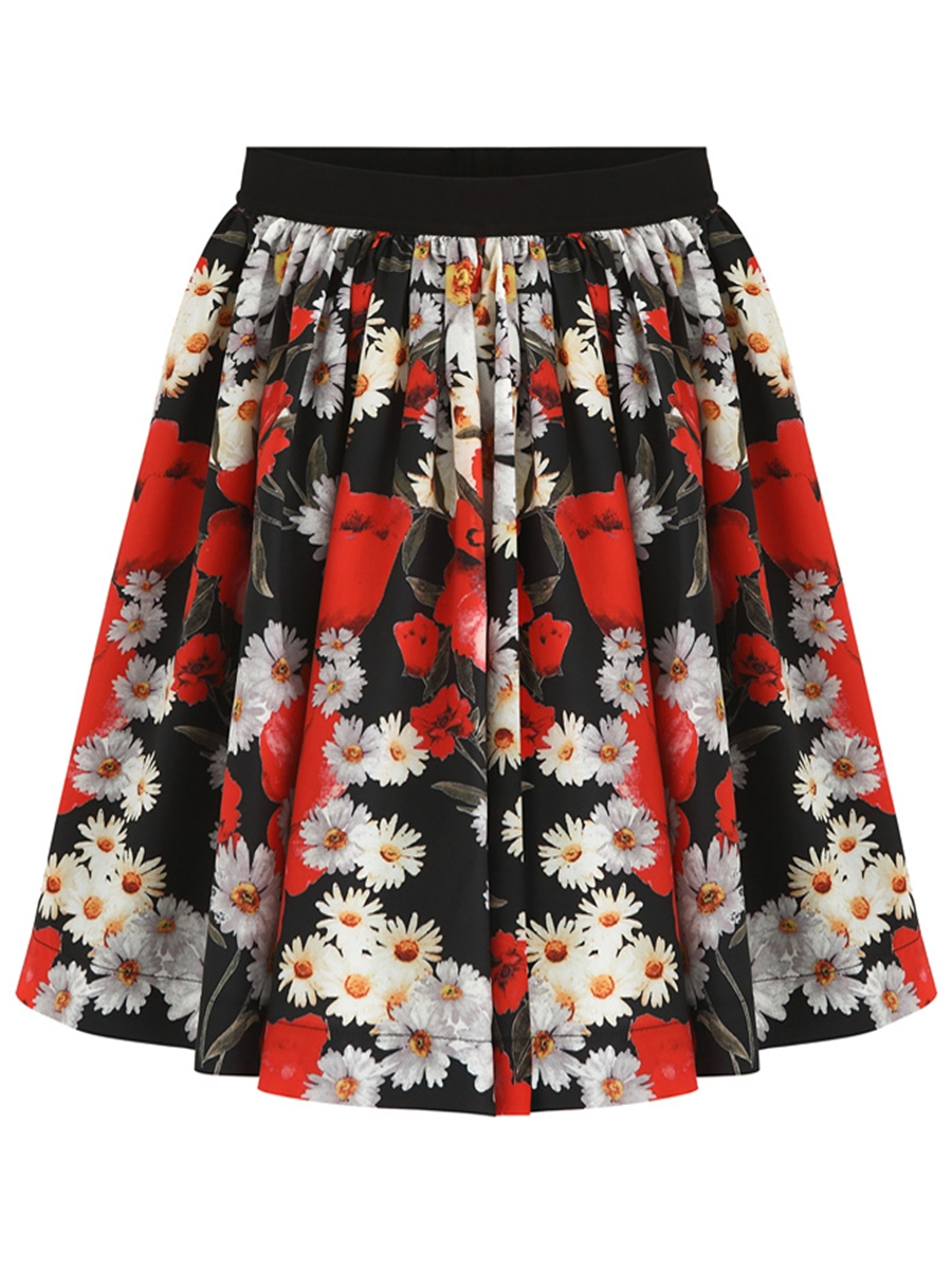 Ericdress Knee-Length Floral Usual Skirts
