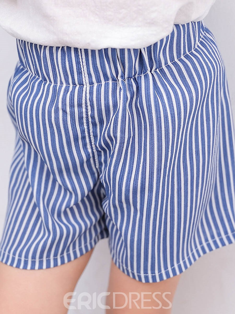 Ericdress Stripe Elastic waist Casual Summer Girls Short
