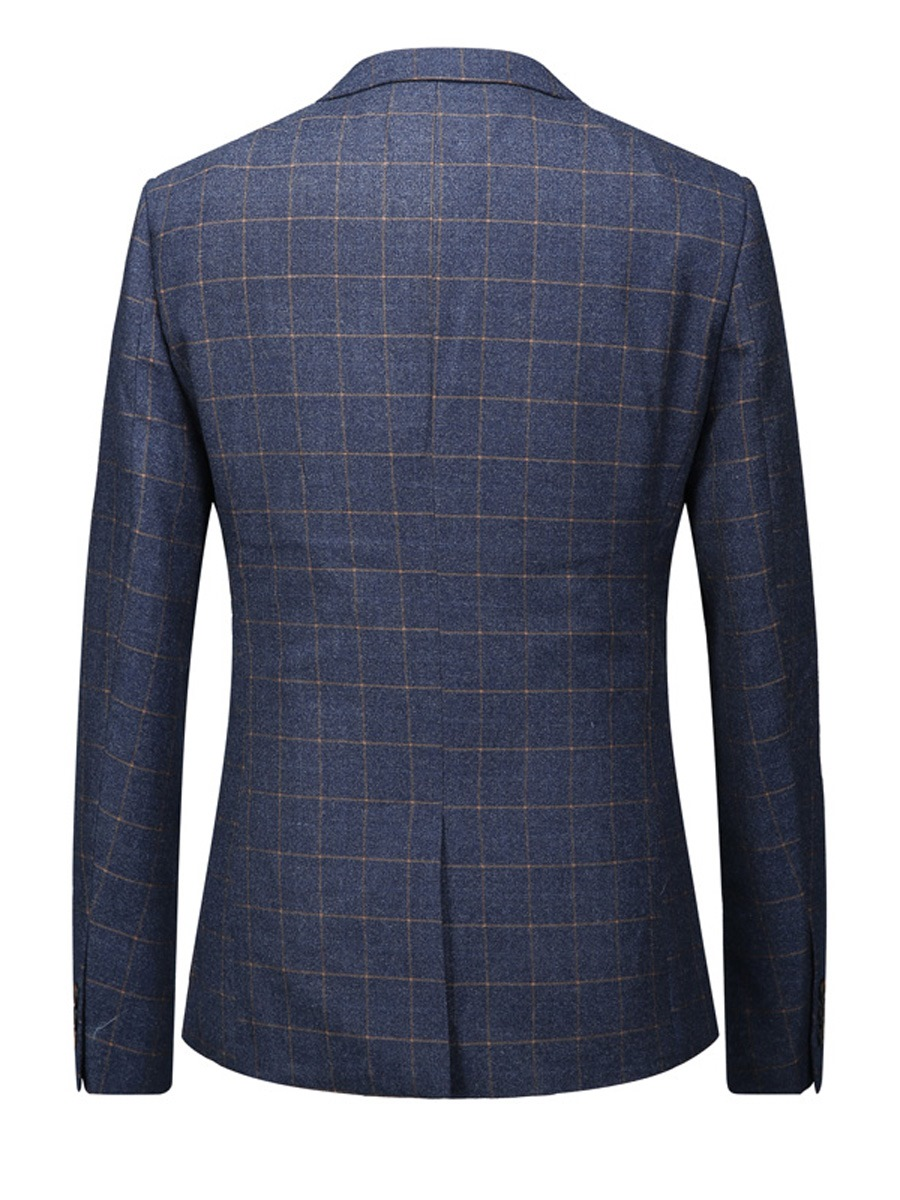 Ericdress Plaid One Button Classic Men's Blazer