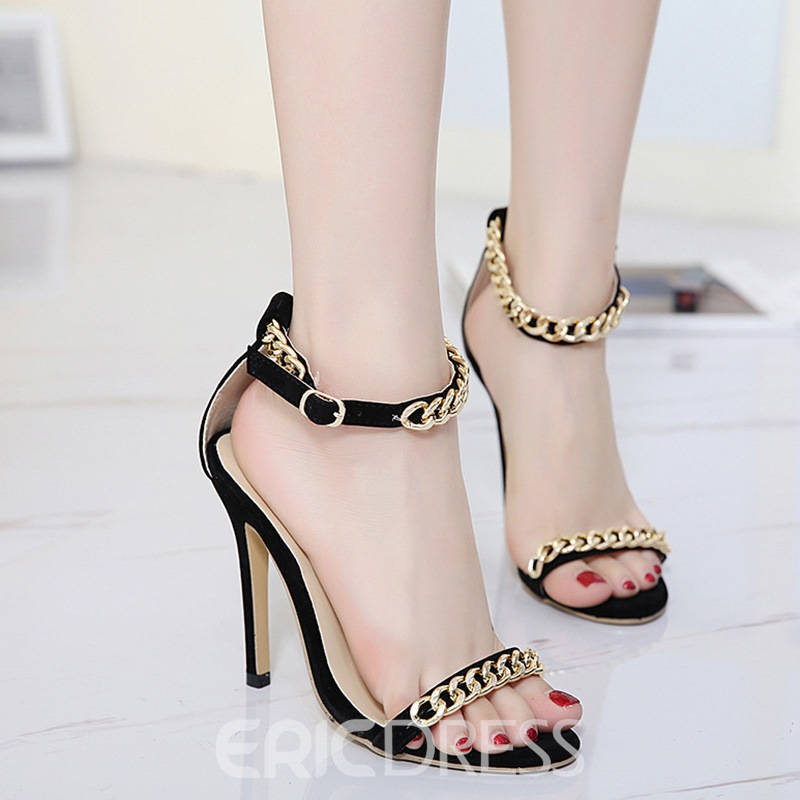 Ericdress Metal Chain Decorated Open Toe Stiletto Sandals