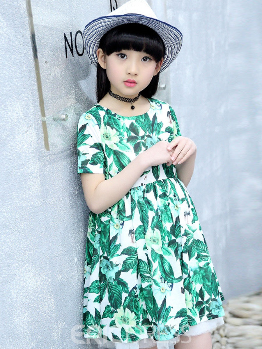 Ericdress Refreshing Leaves Floral Print Summer Girls Dress