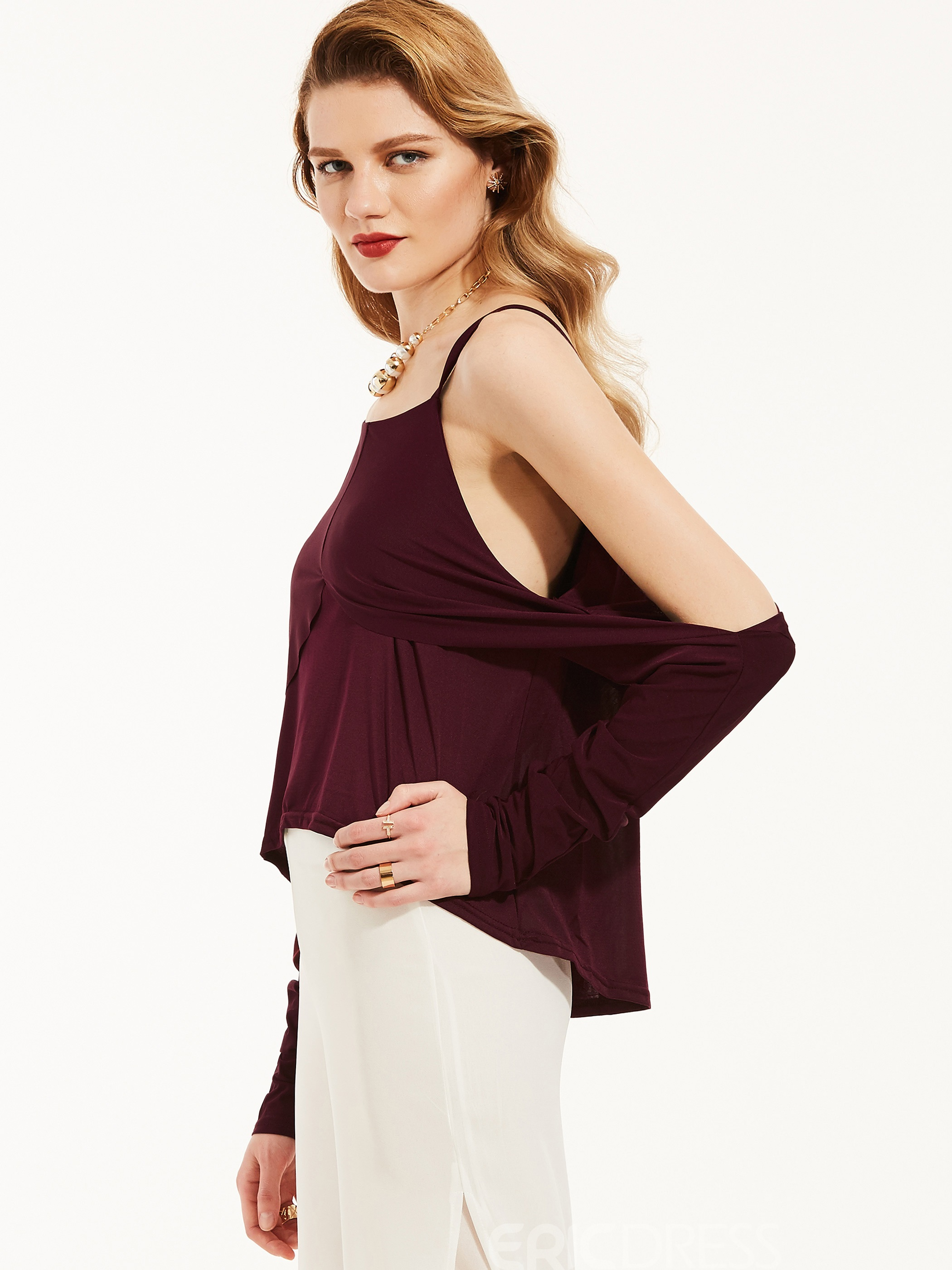 Ericdress Round Neck Cold Shoulder Blouse