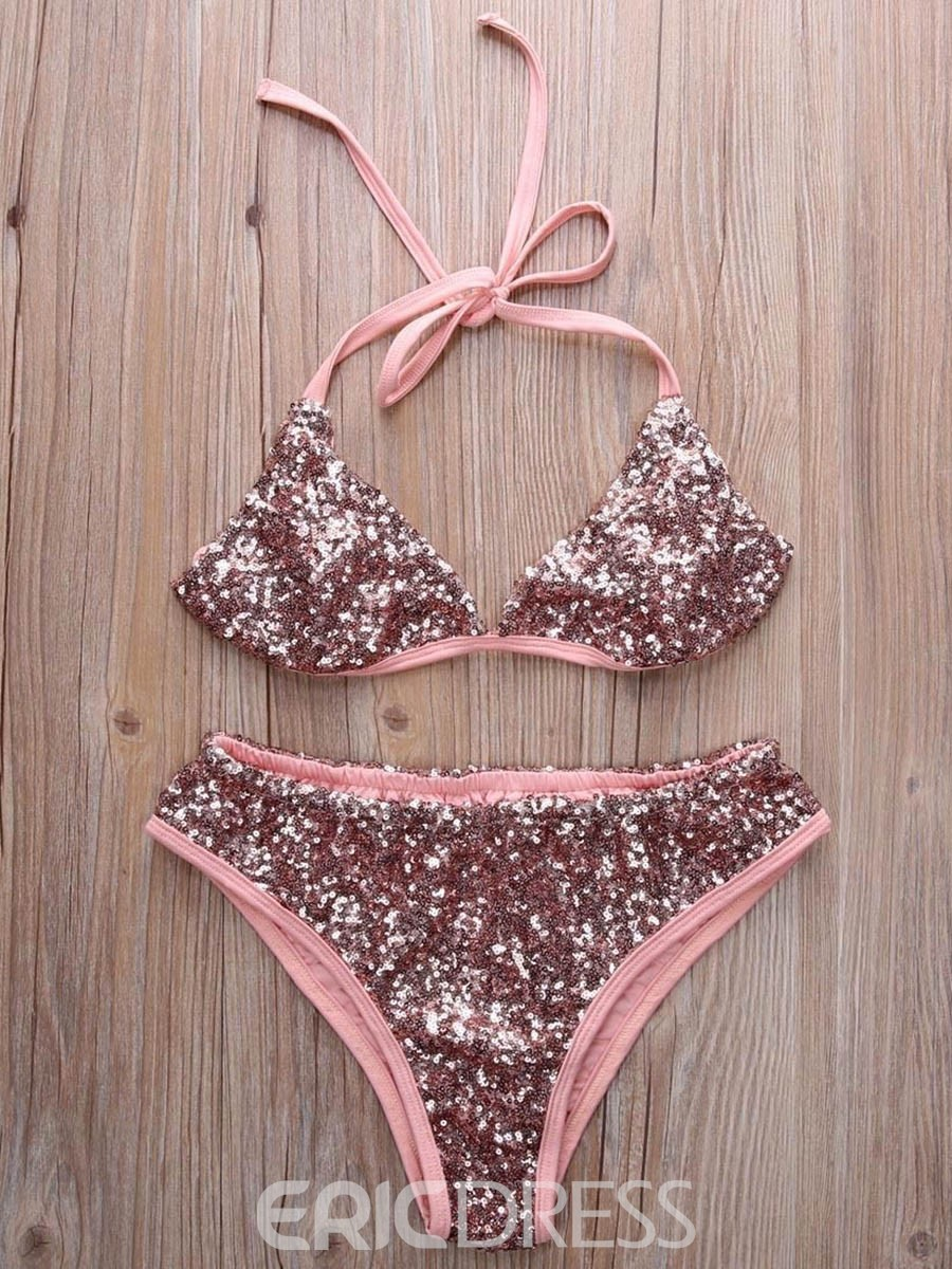 Ericdress Lace-Up Bling Sequins Triangle Bikini Set