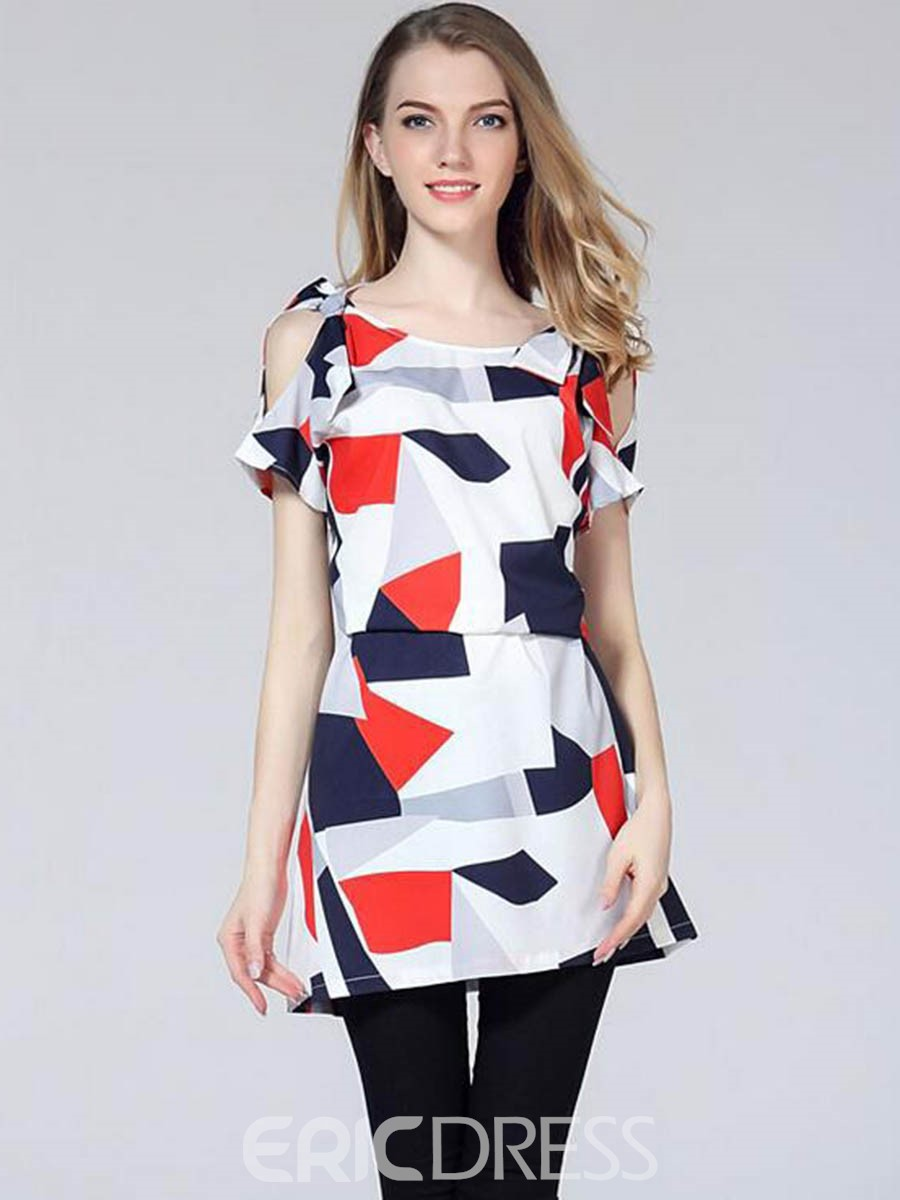 Ericdress Geometric Printing Off-The-Shoulder Bodycon Dress