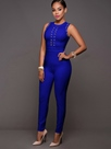 Ericdress Round Neck Sleeveless Blue Women's Jumpsuits